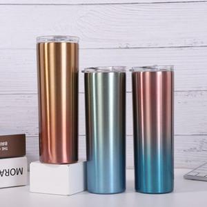 20 Unzen dünner Tumbler Cup Buntes Edelstahl-Vakuum Insulated gerade dünner Bär Kaffee Wasser Tassen Flasche Strohhalme Cups OWF831