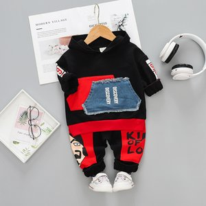 Autumn Children Casual Clothes suits Baby Boys Girl Pocket Hooded T shirt Cartoon Pants 2Pcs sets Toddler Infant Cotton Clothing