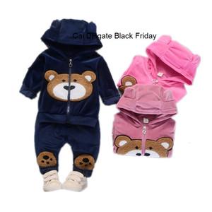 Primavera Outono Roupas de bebê Set infantil Meninos Meninas Hoodies Urso Pants Brasão Pattern Two-Piece Roupas crianças Calça de roupas esportivas