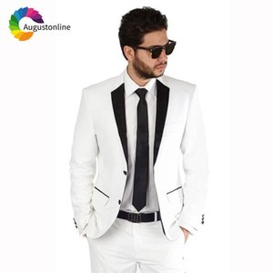 Custom Made White Men Suits Wedding Groom Tuxedos Slim Fit Bridegroom Suits 2 Pieces (Jacket+Pants) Best Man Blazer