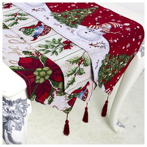 Snowman Flower Christmas Table Runner Tablecloth Xmas New Year Party Dinner Table Decoration For Home Tablecover Party Supply