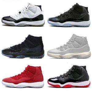 Pantone Jumpman 11 11s hombre mujer zapatos de baloncesto heredera Negro piel de serpiente criado atasco de poco espacio en blanco Concord zapatillas de deporte de los hombres estilista formadores