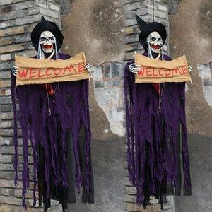 Halloween Ghost Accrocher Résine électrique Skull Door Bar Bienvenue Halloween fantôme Voix Skeleton Prop accessoires de secours de la salle Décoration