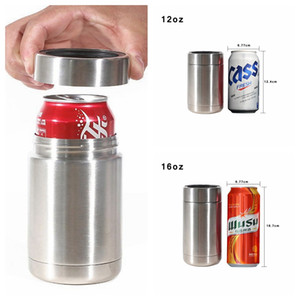12oz 16oz Can Cooler Stainless Steel Tumbler Keep Beer Coke Hot Cold Double Layer Vacuum Drinkware Cup holder Cooler Cup LJJP358