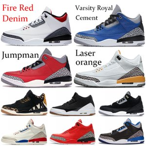 2020 feuerrot Denim Jumpman III OG Herren-Basketball-Schuhe Joker Varsity Königs Cement SE Laser Orange Basketball Lauf Turnschuh-Trainer