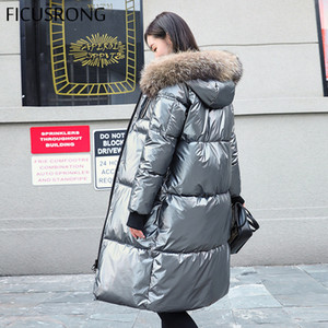 FICUSRONG Causal Glossy Silber Daunenjacken Winter-Frauen lange Pelz-Kragen-Mantel mit Kapuze Parkas dicke Winterjacke Frauen Outwear T200814