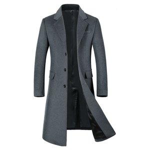 Uomo Monopetto intaglio risvolto extra lungo lana Trench 2020 Autunno Inverno New Business Signori Pea Coat Wool soprabito