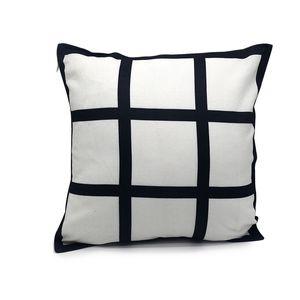 9 Panel Kissenabdeckung Blank Sublimation Kissenbezug schwarze Gitter Kissen- Polyester Wärmeübertragungspolsterbezüge throw Sofa 40 * 40cm gewebtes