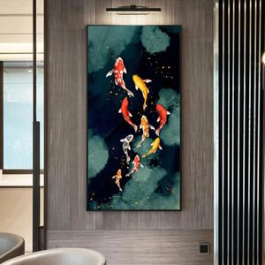RELIABLI ART Koi Fish Feng Shui Carp Lotus Pond Pictures Canvas Painting Wall Art For Living Room Modern Home Decor NO FRAME