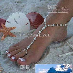 HOT HANDMADE beach wedding bridal barefoot sandals stretch anklet with toe ring 20pc lot free shipping