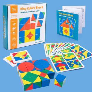 Игрушки мышления логические блоки подарки Детские пространства здание кубик игры Creative DIY игрушка Представьте себе кирпичи деревянные образовательные дети WIPVX