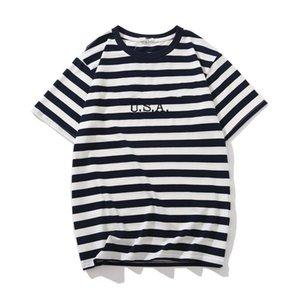 Jeans USA Mens a strisce magliette Summer Fashion Designer ricamo T Maniche corte Tops Clothes