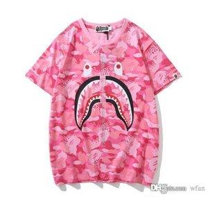 Uomo Donna Blu Rosa Camo del fumetto maglietta della stampa Lover casuale girocollo manica corta T-shirt