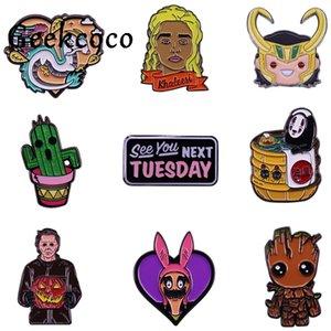 / Lot 20pcs J1447 Geekcoco Horror Movie Character Gioielli Pins spilla badge fumetto No Face Uomo risvolto Pin per i vestiti zaino