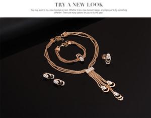 YLK Schmuck-Set für Damen Modische Vergoldete Diamant-Einstellungs-Kleid Zusatz-Halsketten-Ohrring-Armband-Ring 4pcs / set