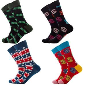 Patrón de los hombres calcetines peinados de algodón estrella rayas geométricas Novedad calcetines divertidos