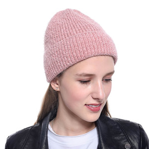 New 2020 Winter Cap Women Warm Woolen Knitted Fashion Hat For Gilrs Jonadab Button Twisted Beanie Cap Woman Fur Cap Accessories