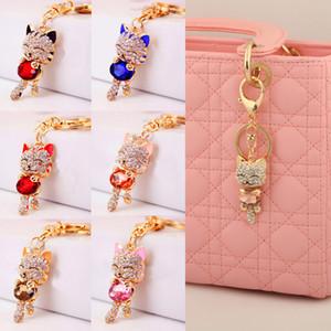 1Pcs Cat Key Ring Keychain Gold Crystal Rhinestone Women Handbag Charm Metal Key Chains Car Ring Pendant