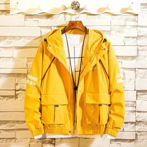 Pop2019 Bahar Desen Adam Soğuk Zaman İnce Kore Trend Ceket kapüşonlu Kısa Gevşek Coat Erkek sarı renkli serin
