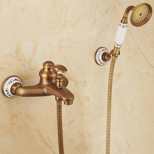 European Style Antique Retro Carved Bathroom Shower Faucet Brass Luxury Set with Hand Bathtub Crane