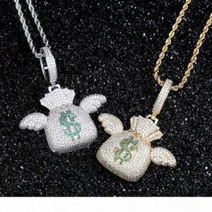 Hip Hop Iced Out CZ камень Bling доллар США Деньги мешок Летающий кошелек Подвески ожерелье для мужчин Рэпер ювелирные изделия золото серебро