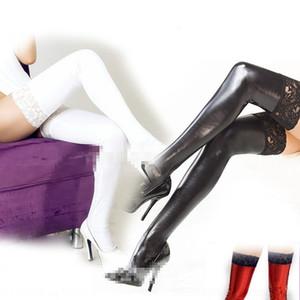 calzini 7UTTv in vernice di pelle stretti regina pizzo vestiti calzini incollati calze elastiche sexy pizzo nero-bordo giocattoli abbigliamento sesso regina