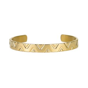 New 8mm Luxury Crown stripe Wave shape men bangle open Cuff Titanium stainless steel lucky V bracelets & bangles for men jewelry