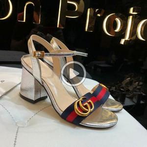 Lettre en métal haute Chaussures à talons en cuir véritable femme Sandales à talons épais avec la boîte 35-40