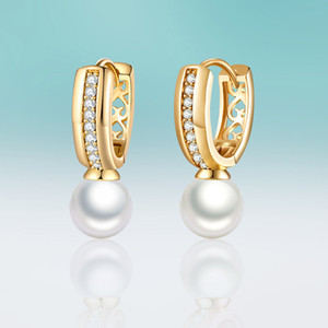 New Simple Circle Micro Inlay Cubic Zirconia Earrings Hanging Big Pearl Stud Earrings for Women Jewelry Delicate Gifts Brincos