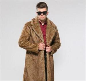 Мех Шинель Solid заказуНаш Воротник Homme Long Coat показно Мужской Теплый дизайнер одежды Mens Поддельный