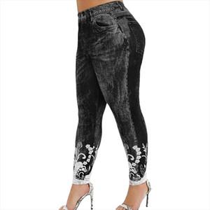 3xl Faux Denim Leggings Jeans Pant Women 3D Printing Push Up Leggings High Waist Pants Women Trousers Fashion Streetwear Leggins