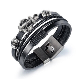 Mens bracelets designer jewelry geniuine leather bracelet stainless steel jewelry new punk style anchor men bangle designer