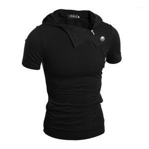 Designer Tshirts Personality Panelled Bottons Mens Casual Tshirts Fashion Short Sleeve Males Clothing Inclined Zipper Mens