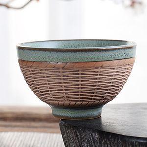 Vintage Tea Master Cup Bamboo Basket Coarse Pottery Tea Cup Ruyi Handmade Teacup Gift 60ml