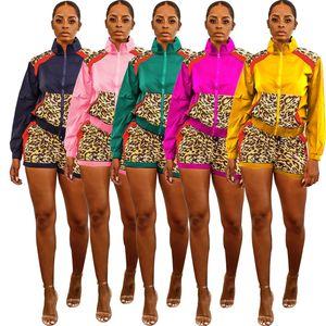 Autumn Sport Leopard Splicing Womens Set Jackets Jogger Pants Suit Active Wear Tracksuit Two Piece Set Fitness Outfit set019
