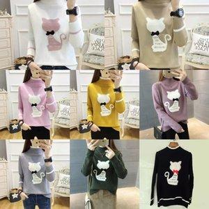 plsAX yXhRT 2020 костюма Корейского стиль свитера женщины шея мультфильм студент пуловер свитер сплошного цвета одежды Pullover снаряжение сладкого нэ