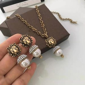 Charming Women Earrings Gold Plated CZ Pearl Lion Head Earrings Necklace for Girls Women for Party Wedding Nice Gift