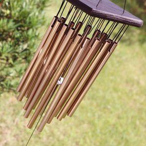 나무와 금속 올리 벨 (16) 튜브 바람 차임 마당 정원 야외 생활 Windchimes 홈 인테리어 크리스마스 선물 Y200903 매달려