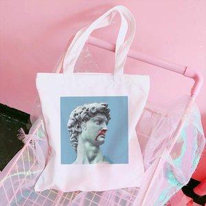 Vaporwave canvas bag white female David cartoon vintage print interesting diagonal cross bag hip hop Japanese shoulder bags