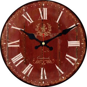 RIHE Retro Red Roman Numerals Wooden Cardboard Wall Clock,Silent & Non-Ticking Feature,Antique Style For Kitchen Office Home