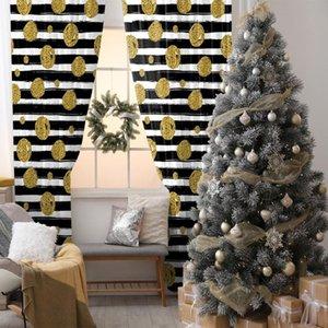 Cortina de Ouro Balões Bolinhas no fundo listrado Fun arte impressa Yellow Black White