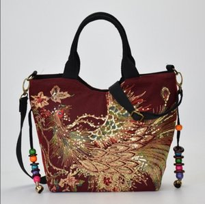 Designer-2019 nouvelle épaule mère du Yunnan nationale du vent toile de sac brodé de broderie d'âge moyen des femmes paquet diagonale portable
