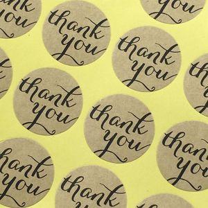 """Ronda de papel """"Gracias"""" sello adhesivo de color serie para la cocción del paquete de bricolaje etiqueta de la decoración de la etiqueta pegatinas pegatinas de regalo al por menor"""
