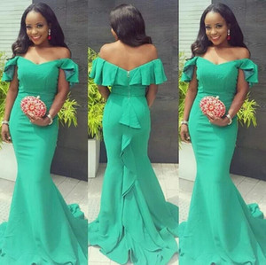 Simple Satin Mermaid Prom Dresses 2021 Off Shoulder Sweep Train Ruffles Long Formal Women Evening Gowns for Special Occasions Dress