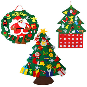 Felt Christmas Tree DIY Wall Hanging Detachable Xmas Ornaments for Toddle Kids Home Decorations Christmas New year decorations