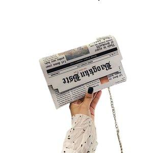 Дамы PU сумки на ремне девушки цепи плечевой ремень Печать газет Crossbody Посланник сумки Ранцы