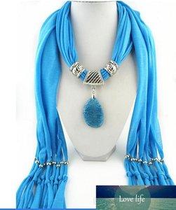 Caliente pendiente de la joyería de la bufanda de las mujeres de la moda collar babero multicolor natural de tipo colgante de ágata accesorios de la bufanda LD
