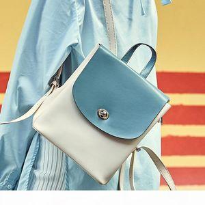 Designer-2019 new winter hit color cowhide leather shoulder bag backpack European and American fashion wild female bag