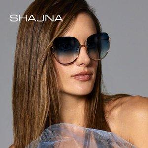 Cadeia SHAUNA Oversize óculos de sol redondos Mulheres Moda Perna Shades UV400
