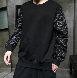 Con paneles para hombre de la manga del diseñador sudaderas con capucha casual para hombre Mens del estilo chino Ropa de diseño sudaderas Moda suelta bordado